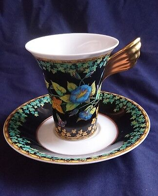 """Versace Rosenthal Studio Line """"gold Ivy"""" Icarus 2-Lg Coffee Cupand Saucer Boxed"""