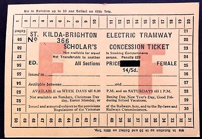 VR Ticket - St Kilda - Brighton Electric Tramway - Scholars Concession Ticket