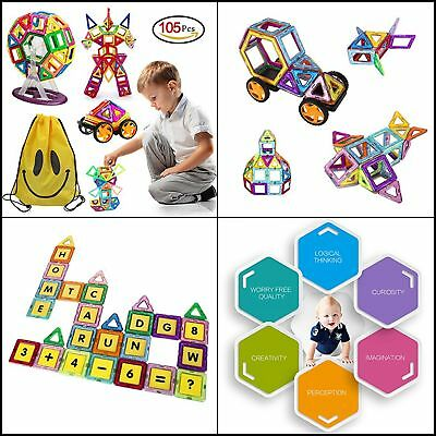 Magnetic Blocks,105 Pcs Building Sets for Kids,Large Educational Christmas Gifts