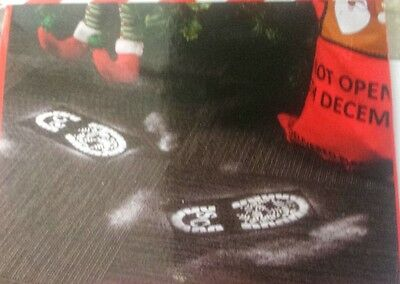 santas footprint stencil santa snow powder father christmas