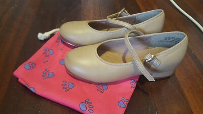 Slick Dancewear Child Tan Leather buckle Tap Shoes sz13 (19.6cm) preowned (23)