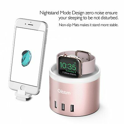 Oittm 3 in 1 4-port USB Charging Station for iPhone & Apple Watch Pink