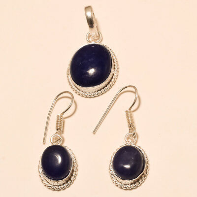 Natural Afghan Lapis Lazuli Silver Tone Jewelry set Retro Old Christmas Jewelry