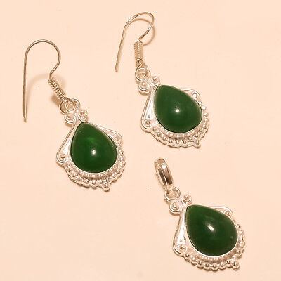 Algeria Green Onyx Silver Tone Jewelry set Retro Old Thankgiving Jewelry Gifts