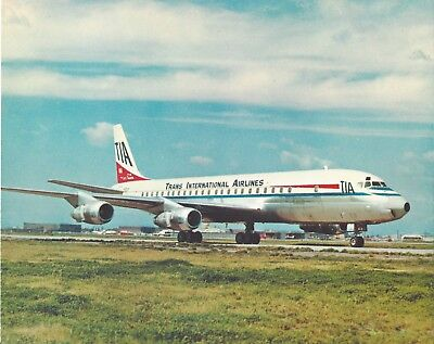 Rare TRANS INTERNATIONAL AIRLINES issue DC8 postcard.MINT