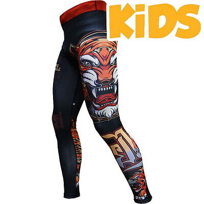 Kids Compression Pants Hardcore Training Tiger Spats MMA Fitness
