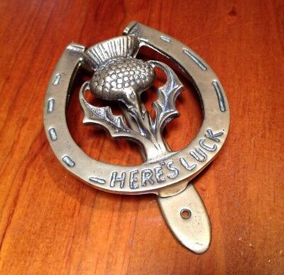 Solid Brass Door Knocker -Here's Luck, Horseshoe/scottish Thistle