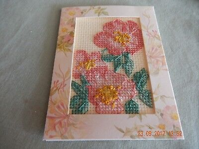 Completed cross stitch card - flowers - with envelope