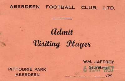 Visiting player's card ticket for Aberdeen FC 6.5.1957 [9mm x 6mm]