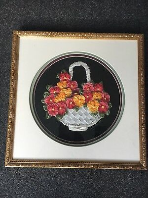 Completed Framed Silk And Satin Ribbon Embroidery
