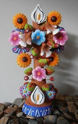 Handpainted clay Crucifix Dove Tree of life pottery ornament Mexican folk art