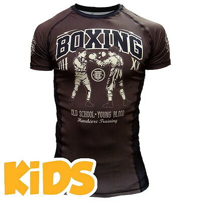 Kids Rashguard Hardcore Training Kids Short Sleeves Niño Compresión superior MMA