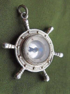 vintage sterling silver ships wheel compass fob works well