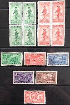 New Zealand 1936 ANZAC Blocks of 4 + Chamber of Commerce set & Health issue MNH