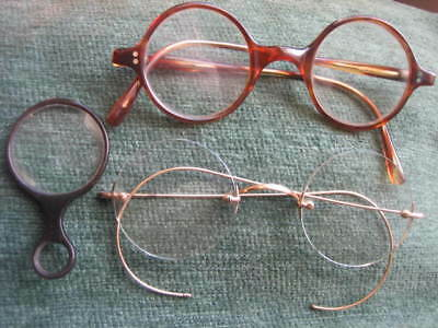 3 prs antique vintage spectacles rolled gold faux tortoise and quizzer monocle