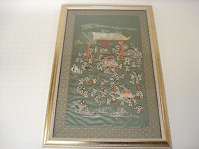 Framed Chinese Silk Wall Hanging - Temple Festival Scene