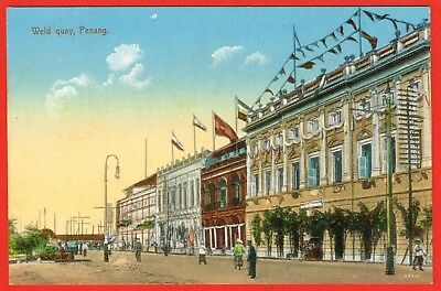 Penang 1910s multi-coloured p/card Weld Quay.
