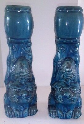 Qing Dynasty -  Matched Pair - Dogs of Foo Barrel Candle Holders