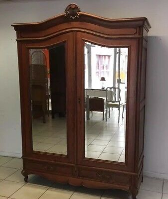 French Armoire wardrobe solid wood mirrored doors
