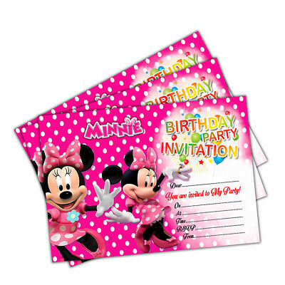 Minnie Mouse Birthday Party Invitations, Pack of 20 Invites, Kids Children Girls
