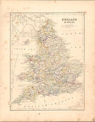 1868  Antique Map -  England And Wales