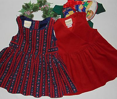Laura Ashley vintage Mother & Child cotton needlecord pinafore dresses 12-18 m