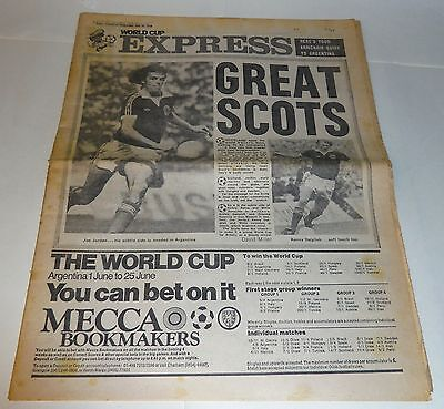 Vintage Daily Express 31.5.1978 Argentina World Cup Preview - Scotland