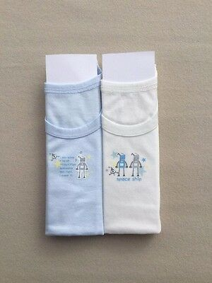 100% Cotton Soft & Comfy Boys Singlet Set of 2 ROBOT Drawing Great 4 School Kids