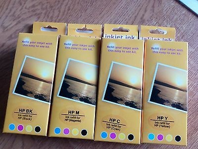 4 x  PACKS COLOUR HP INKJET INK REFILLS - Black, Cyan, Magenta,Yellow