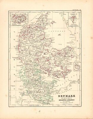 1868  Antique Map -  Denmark And The Duchies Of Schleswig & Holstein