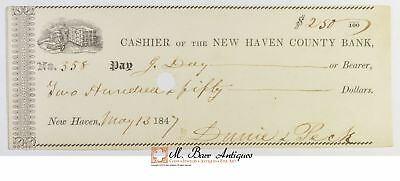 1847 $250.00 New Haven County Bank Check *538