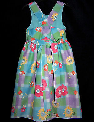 Laura Ashley Vintage Madre & infantil LABEL Floral Algodón Vestido delantal
