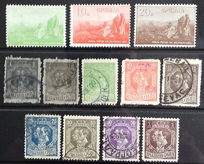 Serbia 1915-1918 King Petar I & Prince Alexander issues MLH & Used