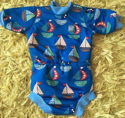 Splash about Boys Happy Nappy Wetsuit, Size Large. Boat Print.