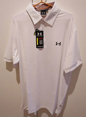 UA White - SLIM FIT Tour Issue Golf Shirt - UK X-Large/US Large Free Delivery