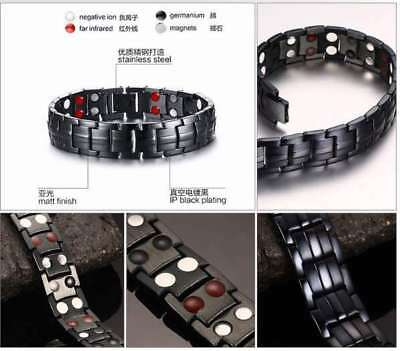 Uk Mens Titanium Super Strong Magnetic Therapy Bracelet Bio Healing Arthritis