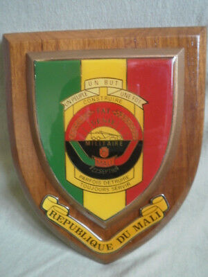 Insigne Medaille Plaque Sur Bois Badge Armee Militaire Rep. Mali Military Army