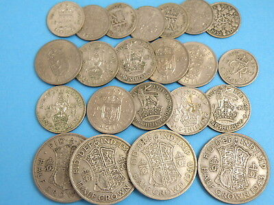 GROUP OF 22 COINS - HALFCROWNS SHILLINGS & SIXPENCES including SILVER ISSUES
