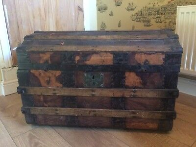 Vintage Luggage Trunk/ Travel Chest used on Worth valley railway