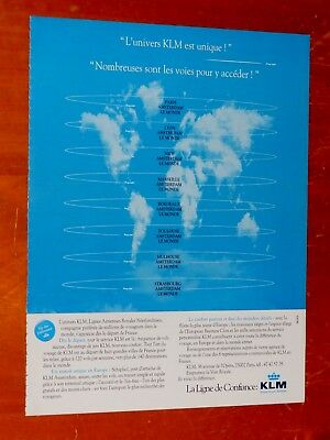 French 1990 Klm Royal Dutch Airlines Euro & World Ad - Retro 90S International