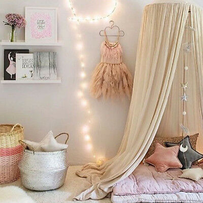 Kids Bedding Round Dome Canopy Cotton Linen Mosquito Net Curtain Room Decor FR2W