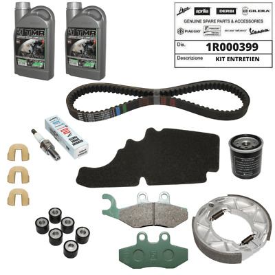Kit Entretien Origine Piaggio Fly 125 Huile Courroie Filtre Frein Bougie Galet