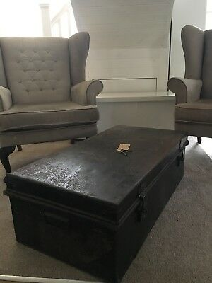 Shabby Chic Vintage Antique Metal Trunk