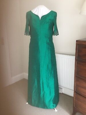 Vintage  Evening Dress 14 Jade  Silk/satin Tailored, Lined, Beaded Sleeves 1970s