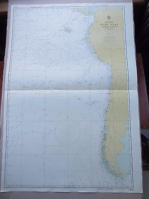 "1970 SOUTH PACIFIC OCEAN & SOUTH AMERICA Admiralty MAP Chart 28"" x 41"" C89"