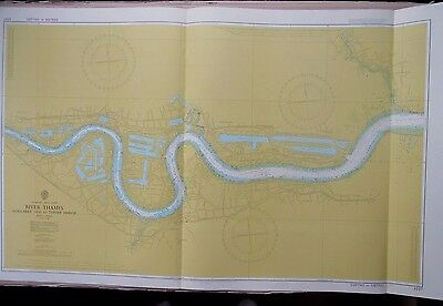 "1981 London RIVER THAMES Admiralty Navigation Chart MAP 28"" x 46"" B71"
