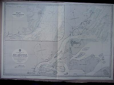 "1960 BRAZIL Amazon River Approaches to Macapa - Admiralty Map 28"" x 41"" D87"