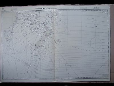"""1971 SOUTH PACIFIC OCEAN New Zealand Etc. Admiralty Sea MAP CHART 28"""" x 41"""" C74"""