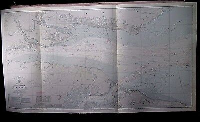 "1969 RIVER THAMES - SEA REACH Admiralty Navigation MAP Chart 28"" x 52"" A40"
