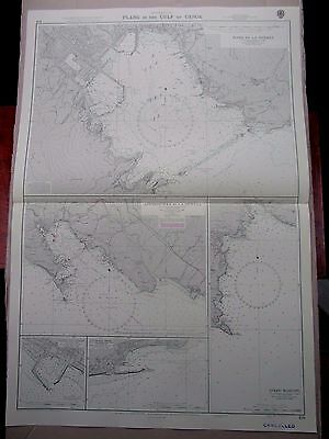 """1970 ITALY - PLANS in The GULF of GENOA Admiralty Sea Chart MAP 28"""" x 41"""" C17"""